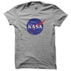 T-Shirt Nasa Gris Col Rond - Manches Courtes