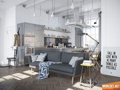 Представленная нам скандинавская квартира была разработана дизайнером Денисом Красиковым. Она довольно просторная и заполнена индустриальными элементами