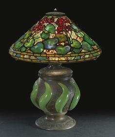 "TIFFANY STUDIOS A RARE ""GERANIUM"" TABLE LAMP circa 1905"