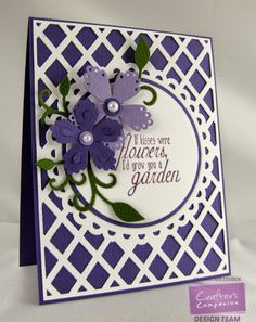 By: Kendra Wietstock for Crafter's Companion; Die'sire Create-A-Card; Ornate Lattice CAC; 3D Flower Dies