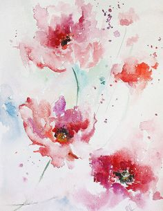 Flower wind- watercolor ORIGINAL Painting floral Abstract home decor