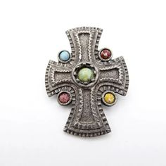 Scottish Celtic Cross Brooch with Five Gemstones, Vintage 1970s P1700686 Jewelry Supplies, Jewelry Stores, Vintage Brooches, Vintage Jewelry, Photographing Jewelry, Maltese Cross, Religious Jewelry, Red Garnet, Carnelian