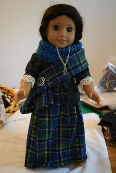 American girl doll Outlander outfit Scottish plaid skirt stomacher jacket knitted neck piece plaid sash celtic pin celtic necklace by hudathotjewelry on Etsy SOLD
