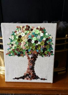 Button tree art button picture tree of life by Uniquenessgemz
