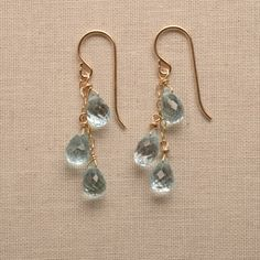 blue topaz faceted gemstone earring / light blue dangle by izuly, $59.00