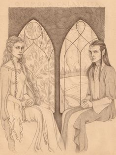 "Galadriel and Elrond - pencil - 2008 (illustration for ""La trasmissione del pensiero e la numerazione degli Elfi"", Marietti 1820 publisher) My Works, Princess Zelda, Illustration, Fictional Characters, Art, Art Background, Illustrations, Kunst, Fantasy Characters"