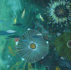 """Night Dive Elemental"" 5 artists: aaron piland, ayumi piland, betsy walton, yellena james and jill bliss"