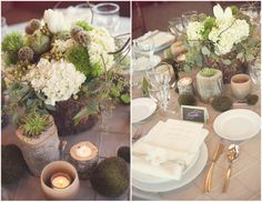 Fall table arrangements (white & green: woodsy touches with hydrangeas, moss)
