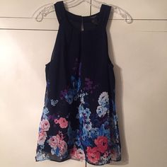 Ann Taylor flowy top Navy with floral theme, buttons at back Ann Taylor Tops Blouses