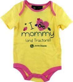 "John Deere ""I Love Mommy (and Tractors!)"" Yellow Infant Girls Bodysuit Onesie 12M-24M (18M) « Clothing Impulse"