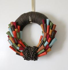thanksgiving wreath, only the loops will be the turkey feathers and a turkey in the middle