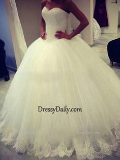 Gorgeous Ball Gown Sweetheart Sleeveless Applique Sweep/Brush Train Tulle Lace Appliques Wedding Dresses - Wedding Dresses - Weddings