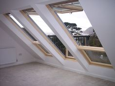 Really want these Velux Cabrio windows to give a balcony feel to my loft convers. - Really want these Velux Cabrio windows to give a balcony feel to my loft conversion! Attic Doors, Garage Attic, Attic Playroom, Attic Loft, Attic Window, Window Curtains, Attic Library, Attic House, Attic Ladder