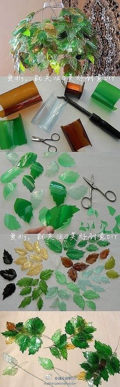 Another recycling DIY - Leaves made from used plastic bottles. This gives SUCH an amazing effect. I think you have to score them for the leaf veins or something. Why not do different shapes. by Morwen Plastic Bottle Crafts, Recycle Plastic Bottles, Plastic Recycling, Soda Bottle Crafts, Plastic Art, Plastic Bottle Flowers, Plastic Sheets, Recycled Bottles, Recycled Crafts
