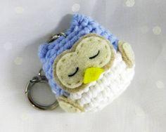 Amigurumi Crocheted Sleeping Owl Keychain