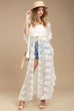 Dream a little dream of romance with the Sweet Honey White Lace Kimono Top! Gorgeous white lace forms this open front kimono with kaftan sleeves, extra long bodice (with side slits), and tying waist.