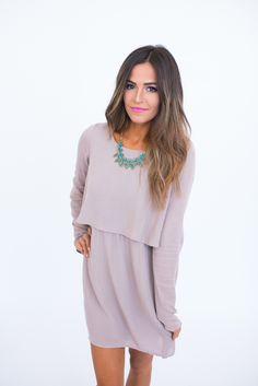 Taupe Two Layer Dress - Dottie Couture Boutique