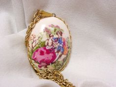 Large Oval Pendant with Romantic Scene by SomeLittleStars, $8.00