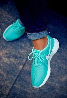 Nike Roshe Run. Turquoise & White. Beauty. Fresh. Sport. Speed. Training. Street Style. Jeans. Blue. Folded. Woman. Fashion. Clothing. Summer.