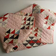 Patchwork Feedsack Quilt 1920s Handsewn Feedsack by WantedNS