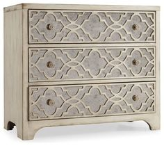 "Hooker Furniture Sanctuary Fretwork Chest in Pearl Essence - traditional - Dressers Chests And Bedroom Armoires - Unlimited Furniture Group Width 36""  Depth 18""  Height 32"""