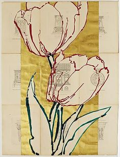 Robert Kushner - Artists - DC Moore Gallery Two Red Tulips Roman Altars, 2014 Oil, acrylic, gold leaf, and collage on paper, 30 x 22 inches