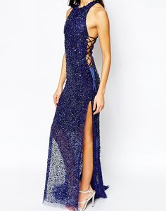 Image 3 ofA Star Is Born Luxe Jewel Encrusted Maxi Dress With Red Carpet Train