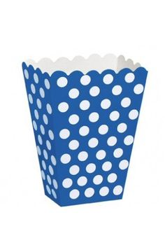 Royal Blue Polka Dot Treat Boxes - Pack of 8 - Polka Dot Party Supplies