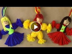 Knitting Embroidery Videos and Lessons Kids Crafts, Diy Arts And Crafts, Doll Crafts, Cute Crafts, Yarn Crafts, Bead Crafts, Crafts To Make, Yarn Dolls, Wool Dolls