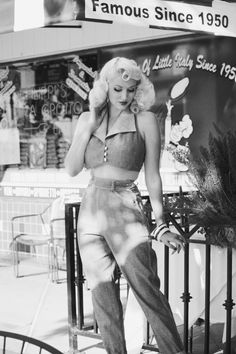 """Retro Vintage I like the lower hand posture. Take picture in front of any sign that says """"Since - Rockabilly Style, Rockabilly Moda, Rockabilly Fashion, Retro Fashion, Vintage Fashion, Modern 50s Fashion, Rockabilly Artwork, Rockabilly Girls, Rockabilly Outfits"""