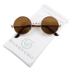 549dde5423 Iambcoolin.com  ShadyVEU - Retro Colorful Tint Lennon Style Round Groovy  Hippie Wire Sunglasses (Brown Lens