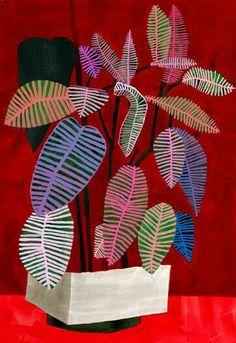 'Red Diptych' by LA-based American artist Jonas Wood Acrylic on paper, diptych, each: x in. via David Kordansky Gallery Flowers Illustration, Art And Illustration, Painting Inspiration, Art Inspo, Jonas Wood, Arte Floral, Botanical Art, Painting & Drawing, Flower Art