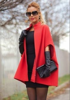 Pattern Draft for Beautiful Cape/Coat from Diy Fashion, Autumn Fashion, Womens Fashion, Dress Neck Designs, Cape Coat, Dress Cuts, Leather Gloves, Spring Dresses, Couture