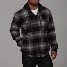 Burnside Men's Charcoal Sherpa Lined Flannel Jacket