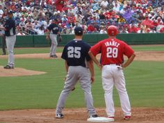 Yankees Mark Texiera and Phillies Raul Ibanez at Brighthouse Networks Stadium, Clearwater, Florida. Spring Training home of the Philadelphia Phillies... 2009