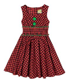 Take a look at this Burgundy & Green Plaid A-Line Dress - Toddler & Girls today!