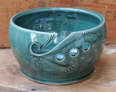 Yarn Bowl, Crochet, Knitting, Deep Green