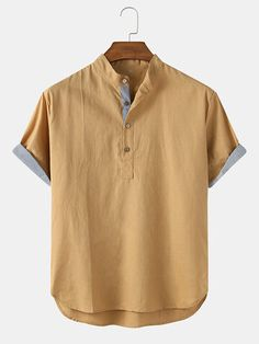 Chemise Fashion, Camisa Floral, Casual Shirts, Shirts & Tops, Neutral Outfit, Henley Shirts, Clothes For Sale, Cotton Linen, Shirt Style