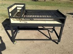 Our Uruguayan Grill with Hearth 54 X 27.5, is designed to grill Uruguayan Asado over red hot coals. The hearth with grate allows wood to be burned into hot coals which are then pushed beneath the cooking grate.