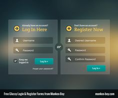Happy Friday Monkee friends! This week we are bringing you a glassy, modern login and registration duo set, that would look good over any color blurred background or gradient. The buttons styles ar...