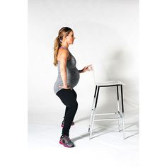 Strengthens quads, hamstrings, inner thighs, glutes and hips.Use the back of a chair or a counter for stability. Set feet out to a wide straddle position—much wider than the shoulders. Turn feet out to 45 degrees. Tuck tailbone straight down and bend knees right over toes, then lower the body slightly as if sliding straight down a wall. Pulse the body up an inch and lower back down with control. Repeat 20 times. Then, hold the body low and perform kegels for 10 repetitions. Repeat the whole…