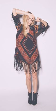 Fringe dress and booties