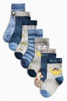 Blue Monkey Socks Seven Pack (0mths-12yrs)