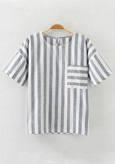 Light Blue Striped Pockets Loose T-Shirt
