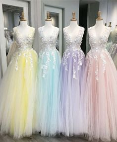 Floor Length Tulle V Neck Prom Dresses with Appliques Floor Length T. - Floor Length Tulle V Neck Prom Dresses with Appliques Floor Length Tulle V Neck Prom Dresses with Appliques Source by - Pretty Prom Dresses, V Neck Prom Dresses, Sweet 16 Dresses, Tulle Prom Dress, Dance Dresses, Ball Dresses, Homecoming Dresses, Cute Dresses, Beautiful Dresses
