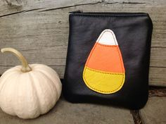 Halloween Pouch Candy Corn Zip Pouch Leather Zip by VeronaBlack