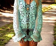 Love mint. Love crochet. Love long sleeves that go down to cover my hands