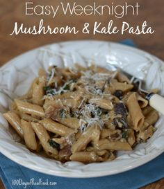 Recipe: Weeknight Mushroom and Kale Pasta (sub brown rice pasta and full fat coconut milk)