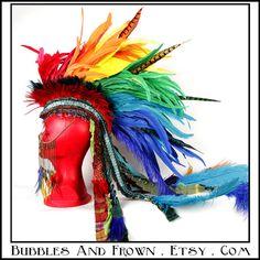 """Rainbow Fantasy"" Rainbow feather mohawk with gypsy veil."