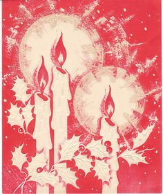 Vintage Christmas Candles Card